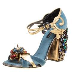 Dolce and Gabbana Blue Velvet and Metallic Gold Leather Crystal Embellished Heel