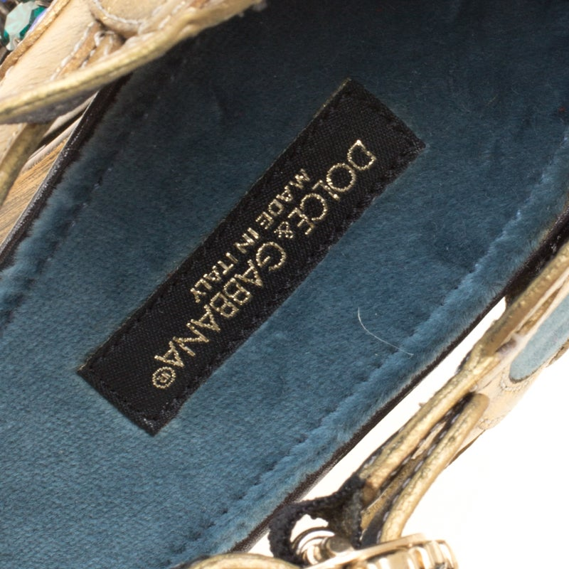 065826fbd0ff Dolce and Gabbana Blue Velvet and Metallic Gold Leather Crystal Embellished  Heel For Sale at 1stdibs