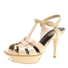 Saint Laurent Paris Beige Patent Leather Tribute Platform Sandals Size 38.5