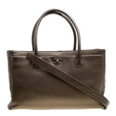 Chanel Khaki Leather Large Cerf Executive Tote