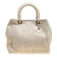 Dior Metallic Gold Woven Leather Medium Soft Lady Dior Tote