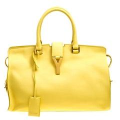 Saint Laurent Yellow Leather Medium Cabas Chyc Tote