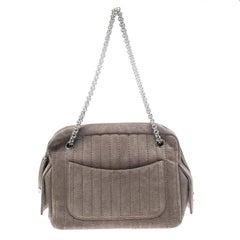 Chanel Grey Suede Shoulder Bag