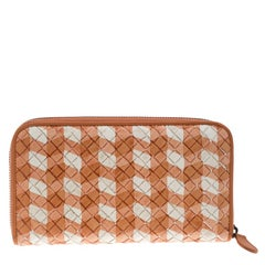 Bottega Veneta Orange/White Intrecciato Leather Zip Around Wallet