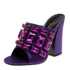 Gucci Purple Satin Tessa Crystal Embellished Peep Toe Slide Mules Size 37