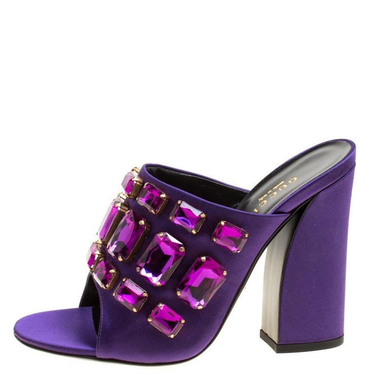 be208caac3f Gucci Purple Satin Tessa Crystal Embellished Peep Toe Slide Mules Size 37  For Sale 4