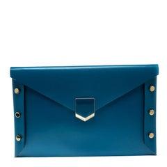 Jimmy Choo Blue Leather Lockett Envelope Clutch