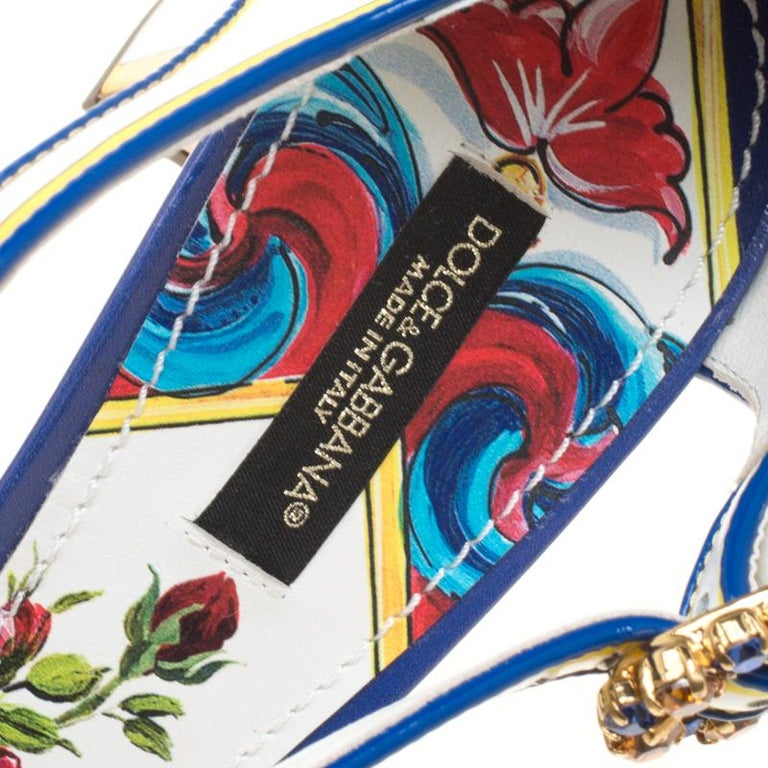 Dolce and Gabbana Multicolor Printed Leather Floral Embellished D'orsay Mary Jan For Sale 1