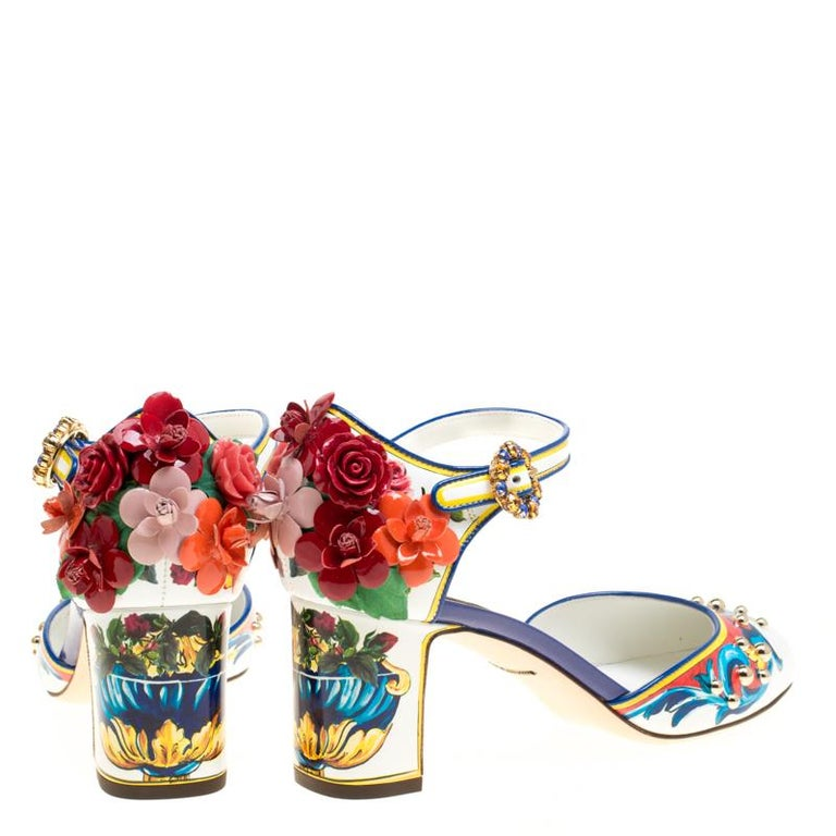Beige Dolce and Gabbana Multicolor Printed Leather Floral Embellished D'orsay Mary Jan For Sale