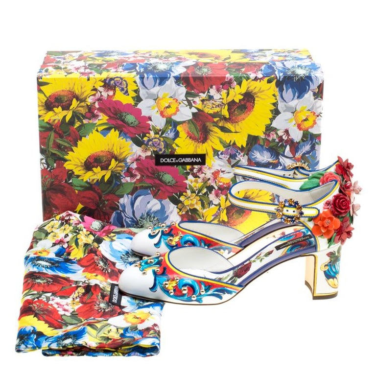 Dolce and Gabbana Multicolor Printed Leather Floral Embellished D'orsay Mary Jan For Sale 2