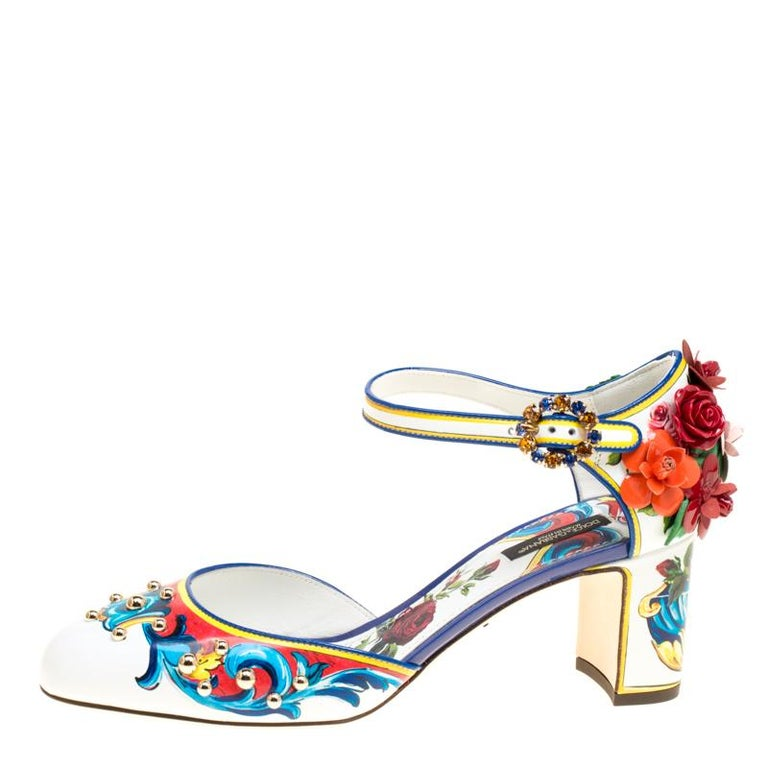 Dolce and Gabbana Multicolor Printed Leather Floral Embellished D orsay  Mary Jan For Sale f25f0a190ffd3