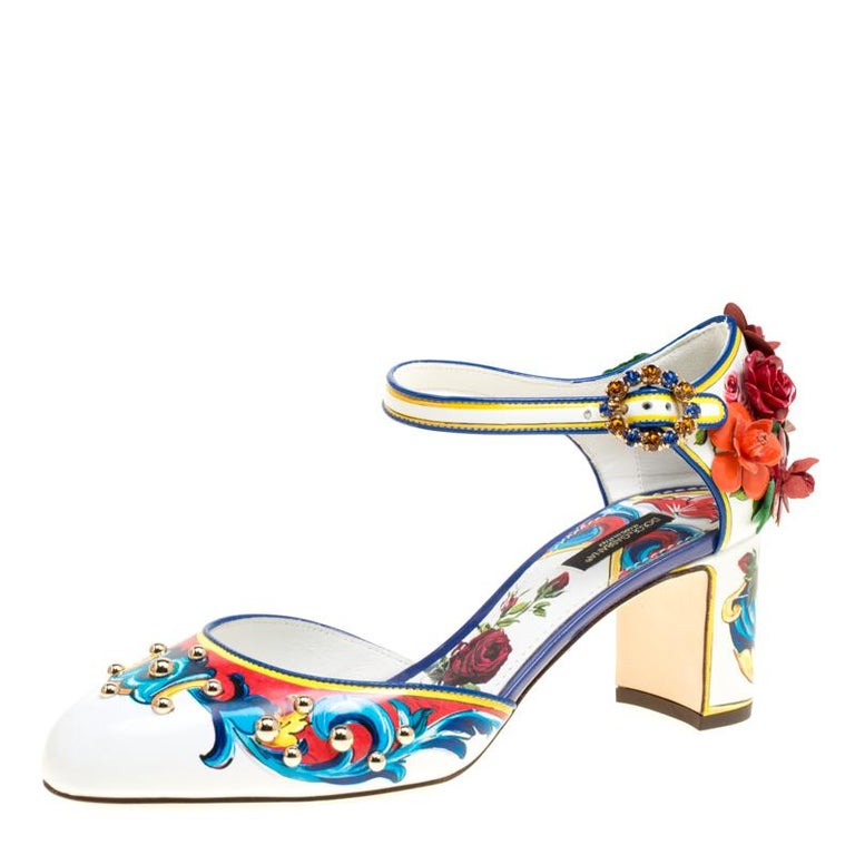 Dolce and Gabbana Multicolor Printed Leather Floral Embellished D'orsay Mary Jan For Sale 3