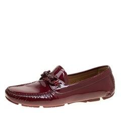 Salvatore Ferragamo Cherry Red Patent Leather Mason Gancio Bit Loafers Size 38.5
