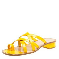 Chanel Yellow Cross Strap Sandals Size 39