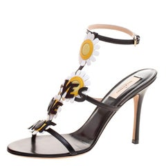 Valentino Black Leather Love Me Daisy Flower Embellished Strappy Sandals Size 38