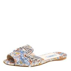 Prada Special Edition Multicolor Brocade Fabric Crystal Embellished Peep Toe Fla