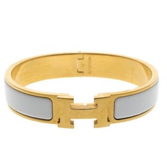 Hermes Clic Clac H White Enamel Gold Plated Narrow Bracelet PM
