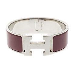 Hermes Clic Clac H Mauve Enamel Palladium Plated Wide Bracelet
