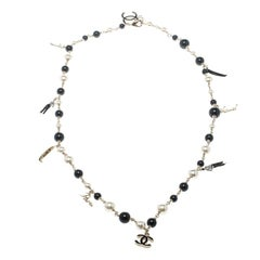 Chanel CC Faux Pearl Black Bead Venice Gondola Charm Long Necklace