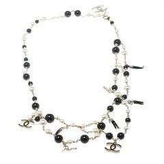 Chanel CC Faux Pearl Black Bead Gold Tone Charm Belt / Necklace