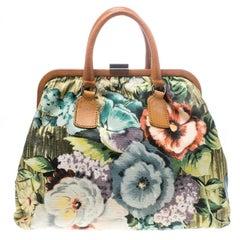 Valentino Multicolor Floral Print Canvas Frame Satchel