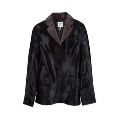 Hermes Dark Brown Calfskin Buttondown Blazer S