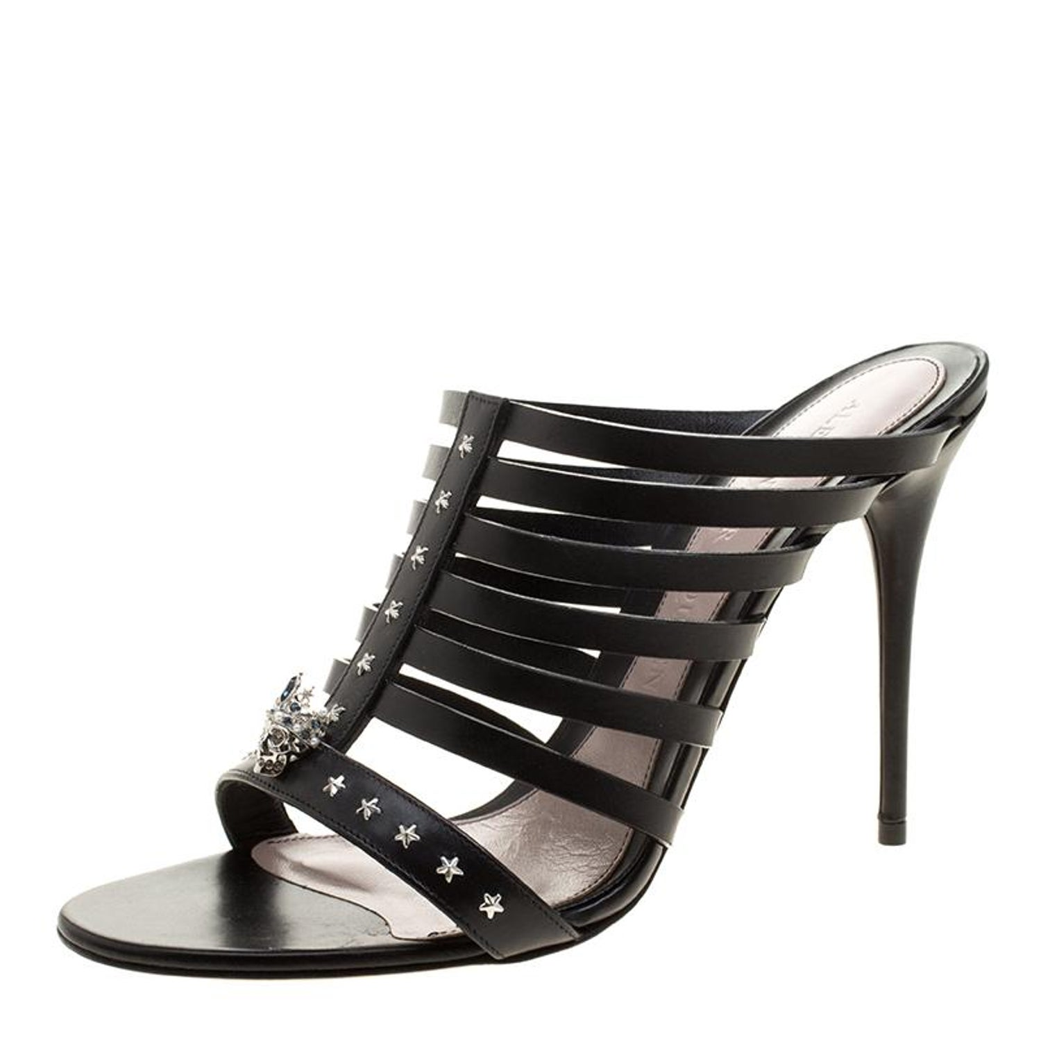 3d2aecdd08c Alexander McQueen Black Skull-Star Studded Leather Strappy Peep Toe Mules  Size 4 at 1stdibs