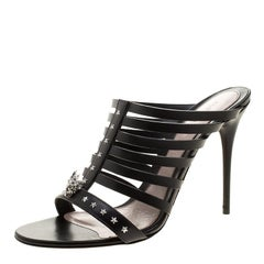 Alexander McQueen Black Skull-Star Studded Leather Strappy Peep Toe Mules Size 4