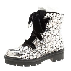 Alexander McQueen Black Suede All Over Crystals Pleat Trim Platform Biker Boots