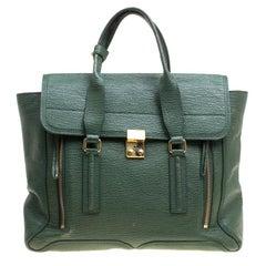 3.1 Phillip Lim Green Leather Large Pashli Top Handle Bag