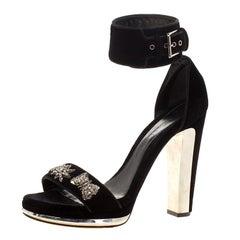 Alexander McQueen Black Velvet Crystal Embellished Ankle Cuff Sandals Size 39