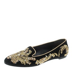 Alexander McQueen Black Velvet Embroidered Smoking Slippers Size 38.5