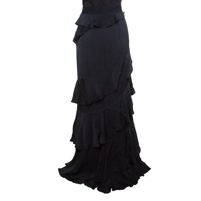 61107569d7 Alexander McQueen Black Vintage Crepe Ruffled Maxi Skirt L In Good  Condition For Sale In Dubai