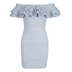 Alexander McQueen Blue Perforated Knit Ruffle Detail Off Shoulder Dress S