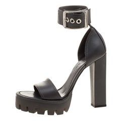 Alexander McQueen Grey Leather Ankle Strap Platform Sandals Size 39