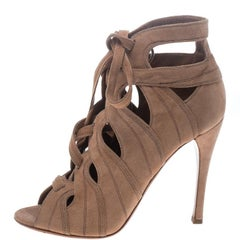 Alaia Beige Cut Out Suede Lace Up Peep Toe Ankle Booties Size 36.5