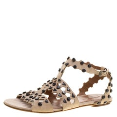 dffdeebf7e2a75 Alaia Beige Stud Embellished Cutout Suede Ankle Strap Flat Sandals Size 39.5