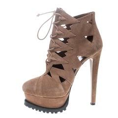 Alaia Beige Suede Cut Out Platform Lace Up Ankle Boots Size 41