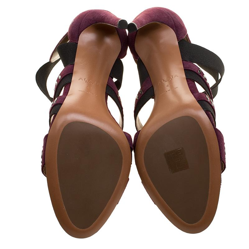 6209144285b3f3 Alaia Bordeaux Studded Suede Cross Strap Peep Toe Sandals Size 41 at 1stdibs