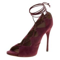 Alaia Bordeaux Suede Lace Up Open Toe Pumps Size 40