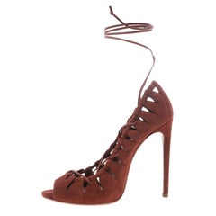 Alaia Brown Suede Lace Up Cut Out Peep Toe Pumps Size 39