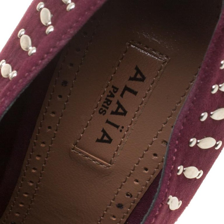 Alaia Burgundy Suede Stud Detail Booties Size 37 For Sale 2