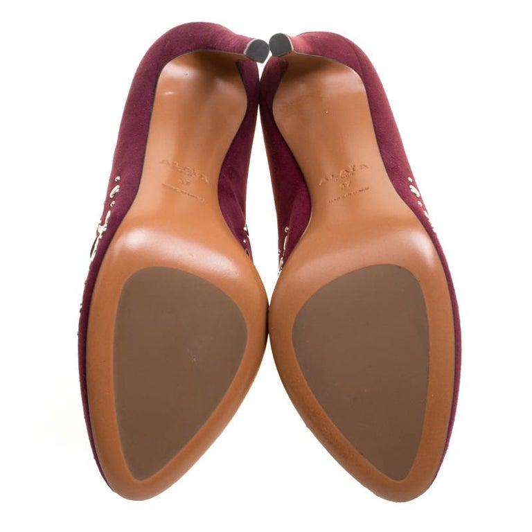 Alaia Burgundy Suede Stud Detail Booties Size 37 For Sale 1