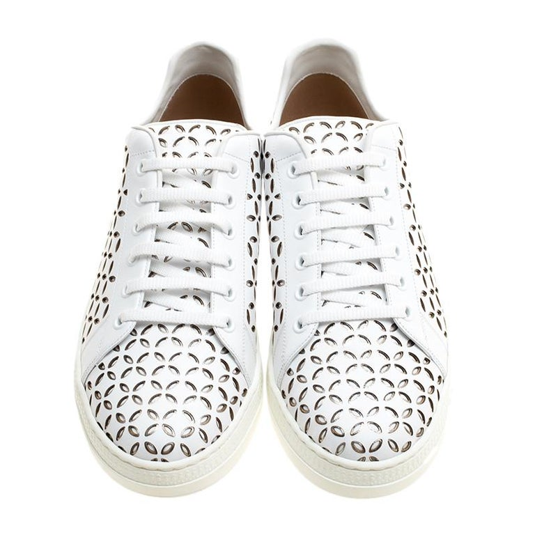 Alaia White Laser Cut Leather Sneakers Size 40 In New Condition For Sale In Dubai, AE