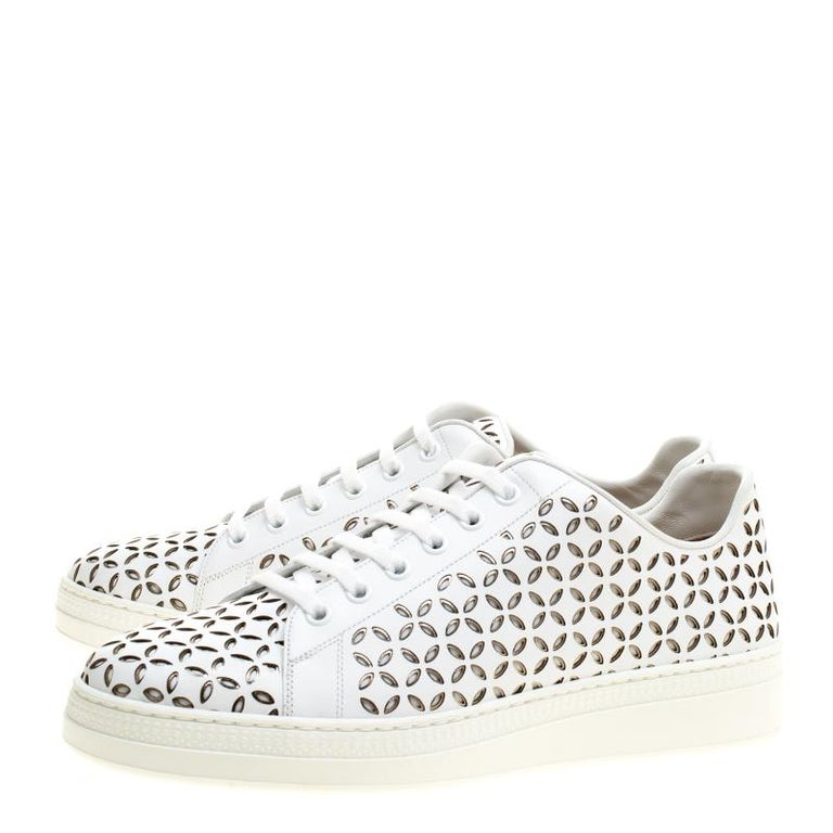 Women's Alaia White Laser Cut Leather Sneakers Size 40 For Sale