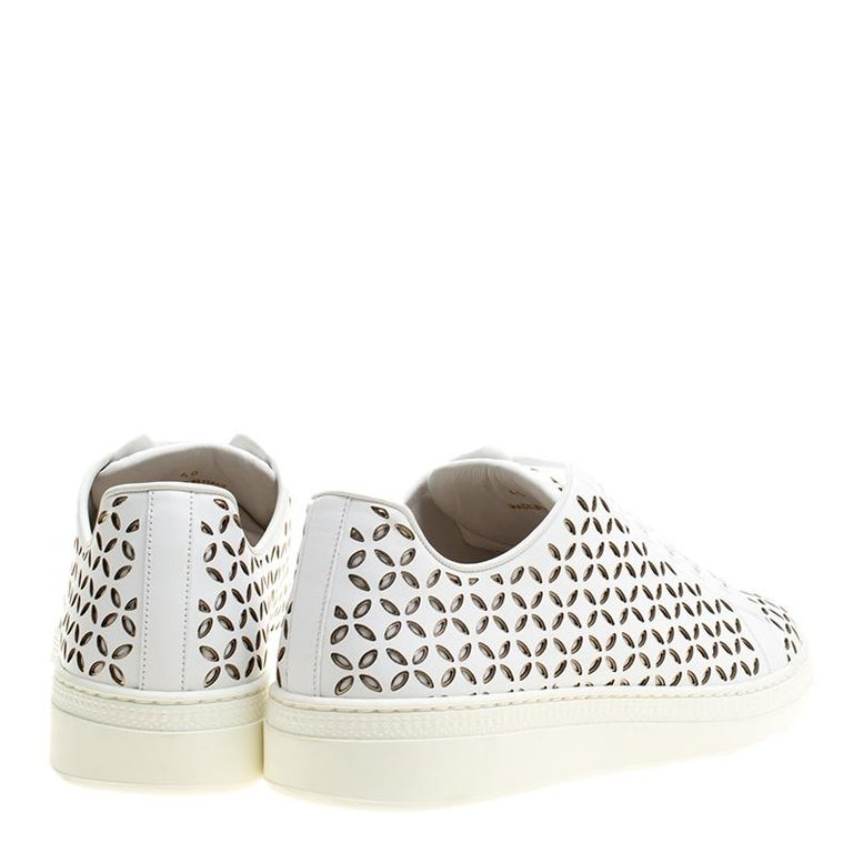 Alaia White Laser Cut Leather Sneakers Size 40 For Sale 1