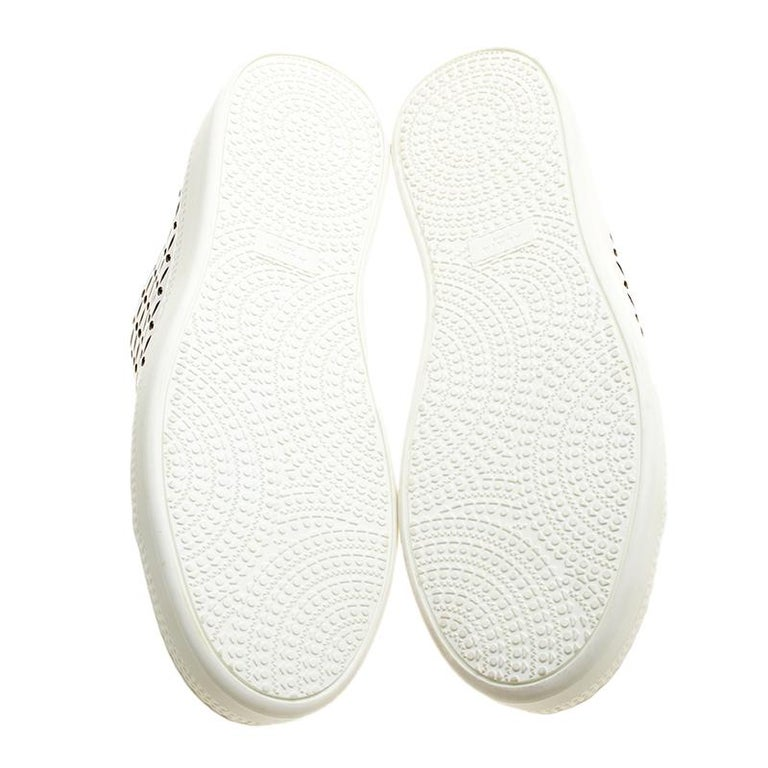 Alaia White Laser Cut Leather Sneakers Size 40 For Sale 2
