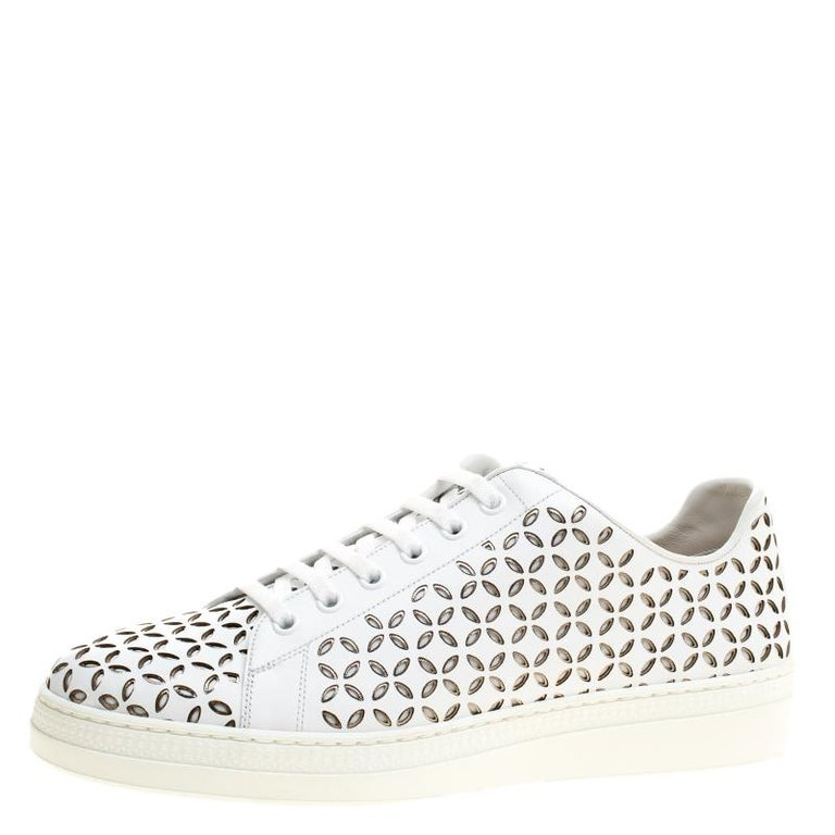 Alaia White Laser Cut Leather Sneakers Size 40 For Sale