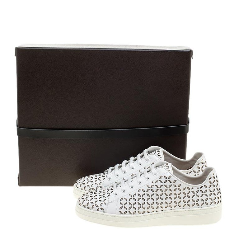 Alaia White Laser Cut Leather Sneakers Size 40 For Sale 4