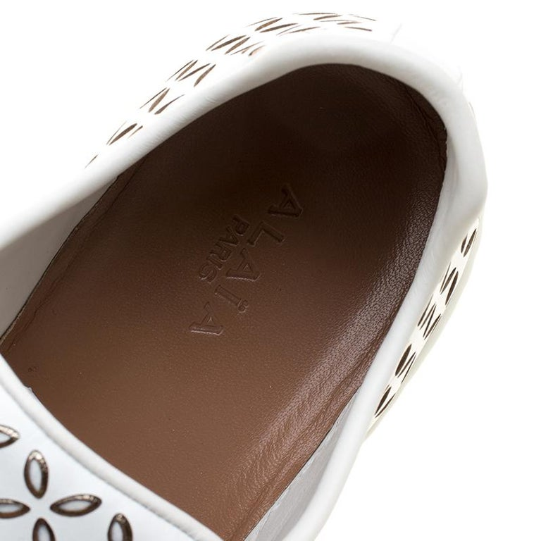 Alaia White Laser Cut Leather Sneakers Size 40 For Sale 5